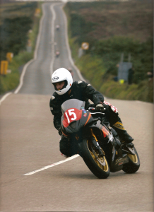 Steve on his Triumph 675 in the new comers race at the Creg Ne Baa - Isle of Man Manx GP 2008