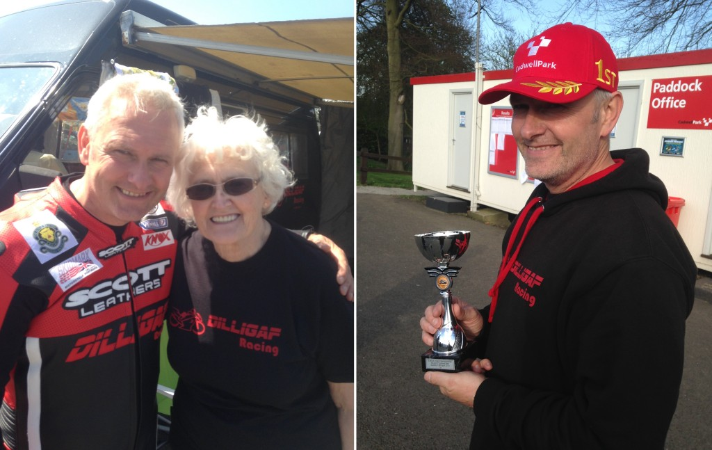 LEFT: Steve with Mum Moody RIGHT: Steve with his winning trophy at Cadwell Park