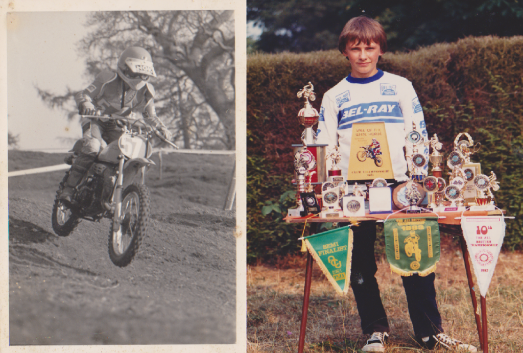 Steve aged 9 at his first motoX meeting - Steve went on to win more than 200 trophies during his school boy career